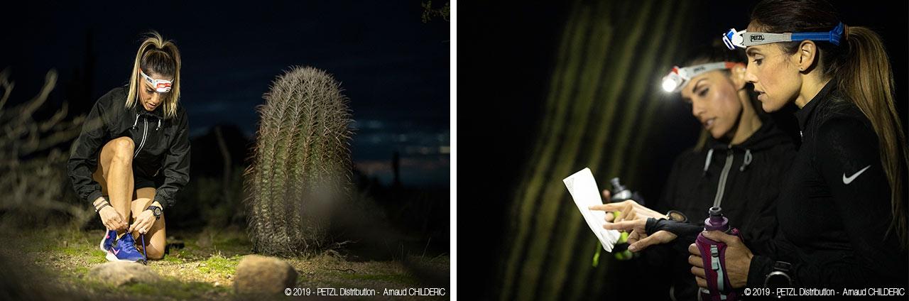 Ночные пробежки с налобными фонарями Petzl