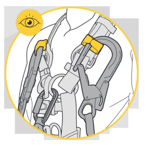 Соединительные элементы на концах страховочного стропа убраны в специальные держатели