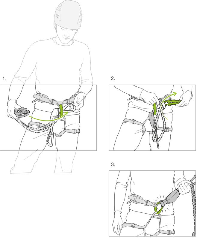 Установите самостраховку на страховочное кольцо обвязки схватывающим узлом.
